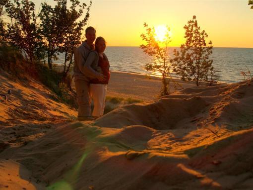 Enjoying the sunset at Indiana Dunes